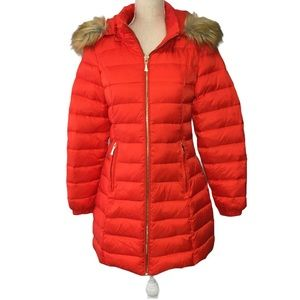 Kate Spade Down Filled Quilted Coat Faux Fur & Bow